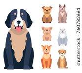 cute dogs cartoon icons set.... | Shutterstock .eps vector #760782661