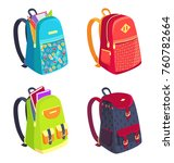 set of schoolbags for kids side ... | Shutterstock .eps vector #760782664