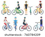 bicyclist riding on bike ... | Shutterstock .eps vector #760784209