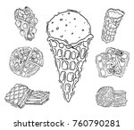 different wafer cookies waffle... | Shutterstock .eps vector #760790281
