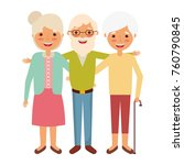 old man with women grandparents ... | Shutterstock .eps vector #760790845
