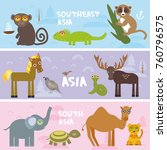 cute animals set elephant camel ... | Shutterstock . vector #760796575