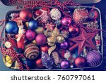 vintage suitcase with festive... | Shutterstock . vector #760797061