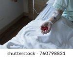 and of woman patient get saline ...   Shutterstock . vector #760798831