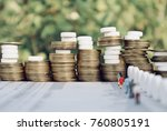 rolls of gold coin money with... | Shutterstock . vector #760805191