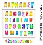 vector pop art font set.... | Shutterstock .eps vector #760807219