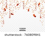 orange confetti background with ... | Shutterstock .eps vector #760809841