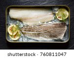fresh fish  cod fillets on ice...   Shutterstock . vector #760811047
