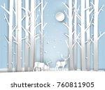 illustration vector of reindeer ... | Shutterstock .eps vector #760811905