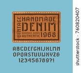stencil plate sans serif font... | Shutterstock .eps vector #760820407