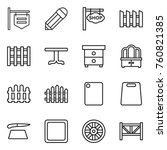 thin line icon set   shop... | Shutterstock .eps vector #760821385