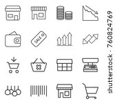 thin line icon set   shop  coin ... | Shutterstock .eps vector #760824769