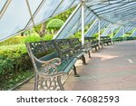 bench under big blue tent | Shutterstock . vector #76082593