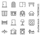 thin line icon set   door  arch ... | Shutterstock .eps vector #760826611
