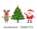 santa claus and reindeer are... | Shutterstock .eps vector #760827721