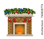 christmas fireplace. xmas and...   Shutterstock .eps vector #760828774