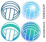 volleyball ball in vector.... | Shutterstock .eps vector #760832629