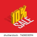 10  percent off  sale  golden... | Shutterstock .eps vector #760833094