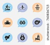 set of 9 editable healthy icons.... | Shutterstock .eps vector #760836715