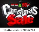 christmas sale special offer on ... | Shutterstock .eps vector #760847281
