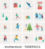 winter sport scene  christmas...   Shutterstock .eps vector #760854211