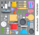 kitchen tools  cookware and...   Shutterstock .eps vector #760856464