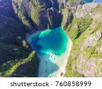 aerial top view of turquoise... | Shutterstock . vector #760858999