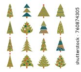 set of icons of green christmas ... | Shutterstock . vector #760874305