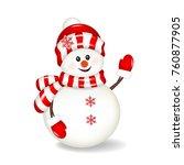Christmas Snowman  Isolated.