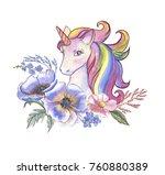 watercolor hand drawn vibrant... | Shutterstock . vector #760880389