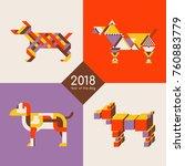 stylized dog set. happy new...   Shutterstock .eps vector #760883779
