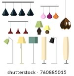 set of lamps. floor lamps ... | Shutterstock .eps vector #760885015