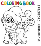 coloring book monkey in winter... | Shutterstock .eps vector #760887865