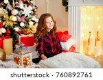 cute little girl in checkered... | Shutterstock . vector #760892761