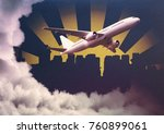 aiplane on abstract cloudy city ... | Shutterstock . vector #760899061