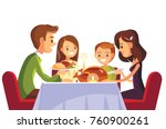 family christmas dinner | Shutterstock .eps vector #760900261