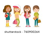 pupils with books | Shutterstock .eps vector #760900264