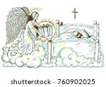 christmas angel puts a gift to... | Shutterstock .eps vector #760902025