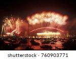 fireworks on  sydney harbour...   Shutterstock . vector #760903771