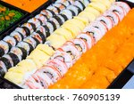 many sushi japanese food in... | Shutterstock . vector #760905139