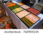 many sushi japanese food in... | Shutterstock . vector #760905145