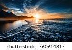 beach sunset with endless... | Shutterstock . vector #760914817
