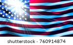 american flag with sunshine. | Shutterstock .eps vector #760914874