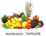 fresh fruits and vegetables... | Shutterstock . vector #76091698