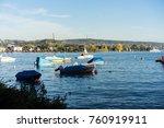 boats on lake zurich in summer...   Shutterstock . vector #760919911
