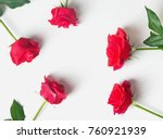Stock photo red roses on the white background top view toned photo 760921939