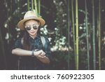 travel women are watching the... | Shutterstock . vector #760922305