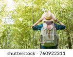 happy female tourist to travel... | Shutterstock . vector #760922311