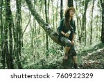 women fatigued during hiking... | Shutterstock . vector #760922329