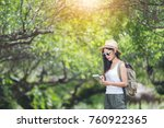 travel happy woman tourists the ... | Shutterstock . vector #760922365